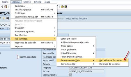Publicar función como servicio web SAP