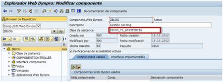 Asignar clase de asistencia a componente Web Dynpro