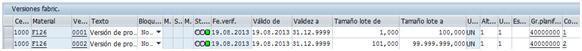Versiones de fabricación en SAP PP