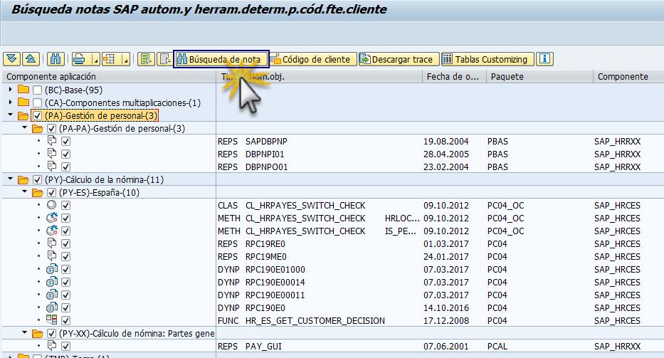 SAP detección de notas R/3, transacción ANST búsqueda de notas