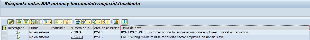 SAP detección de notas R/3, transacción ANST notas