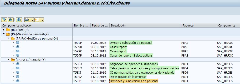 SAP detección de notas R/3, transacción ANST tablas