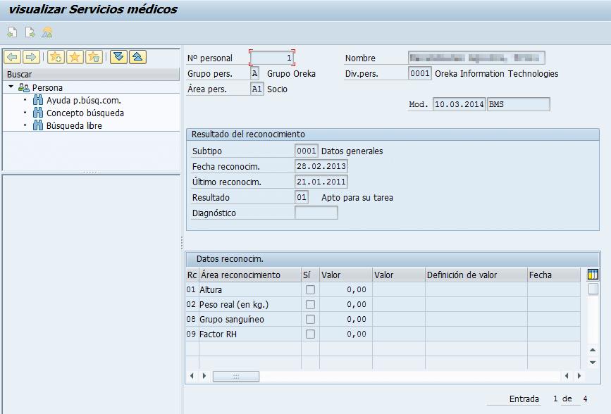 Gestionar reconocimientos médicos en SAP, visualizar