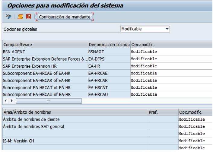 Opciones modificables SAP