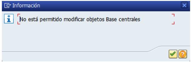 Modificaciones no permitidas en SAP S4/HANA