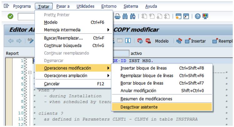 Desactivar el asistente de modificaciones SAP S4/HANA