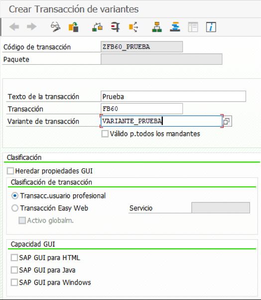 Crear transacción de variantes Enjoy SAP FI