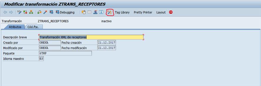 SAP - lógica de transformación simple - XML