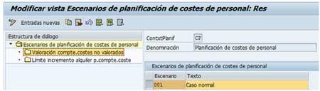Selección del escenario en la parametrización de importe incremental