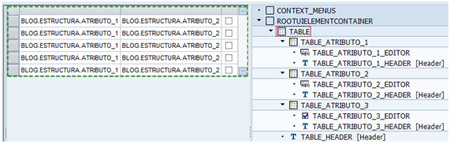 Opción TABLE del WebDynpro Code Wizard de Layout
