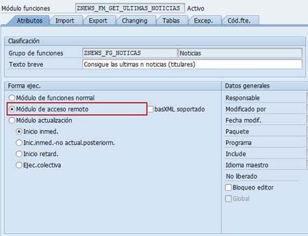 Publicar servicio web SAP de una función