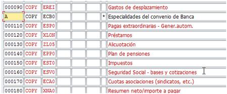 Línea destino bloque de esquema de nónima SAP