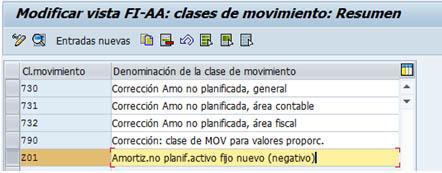 Clases de movimiento de activos fijos SAP