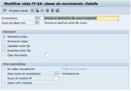 Clases de movimiento SAP