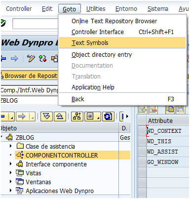 Crear símbolos de texto en clase de asistencia Web Dynpro