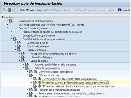 SAP FI - Almacenar cuentas de pago para diferencias
