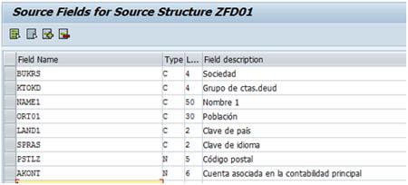 Configuración LSMW: Campos de origen