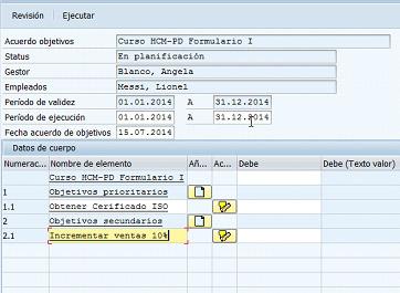 Formulario flexible para sistema de calificación SAP HCM