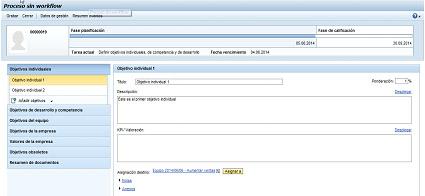 Sistema de calificación SAP HCM: Formulario predefinido