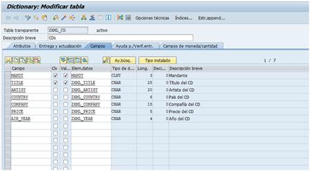 Tratamiento XML con ABAP: Creación de tabla