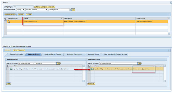 SAP Portal: Configurar acceso anónimo asignando grupo anonymous al nuevo rol