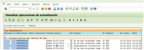 Visualizar ejecución real de contabilización de nóminas incorrecta