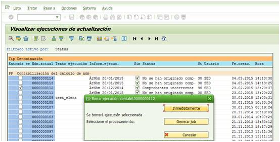 SAP HCM - Borrar ejecución de contabilización inmediatamente