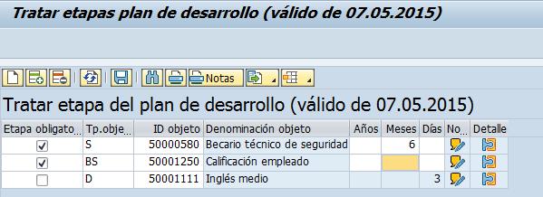 Etapas en la gestión del desarrollo personal SAP-HCM