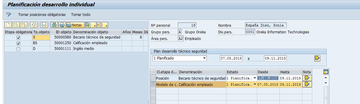 Planificación del Desarrollo personal SAP-HCM