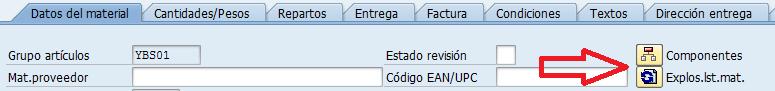 SAP MM, transacción ME21N, pestaña de los datos del material