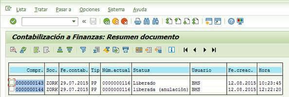 SAP FI: Documento resumen de la anulación de la ejecución de contabilización de la nómina