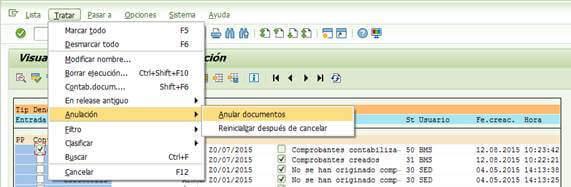 SAP FI: Ejecutar la anulación de los documentos