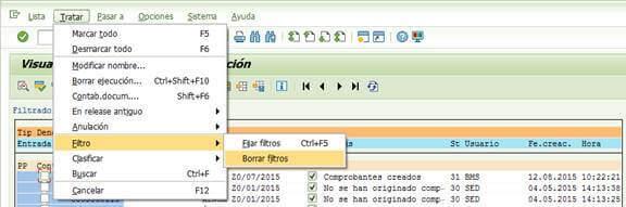 SAP FI, Resumen de ejecuciones de contabilización