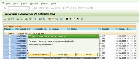 SAP FI: Seleccionar tipo de proceso de la anulación de la contabilización de nómina