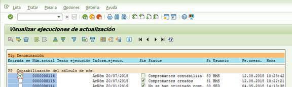 SAP FI; Visualizar ejecuciones de actualización