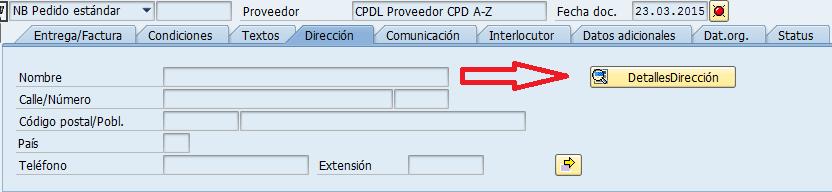 SAP proveedores CPD, ajustes en los datos de dirección