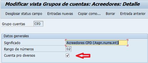 Cuentas prodiversos en SAP, vista modificación grupos de cuentas