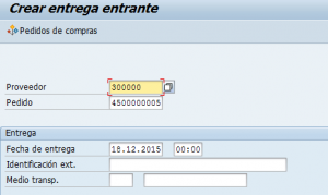 SAP MM, creación de una entrega entrante