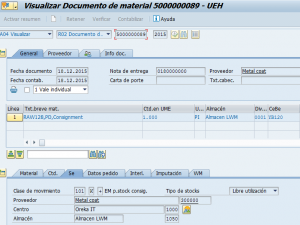SAP MM, documento resumen de los datos de un material
