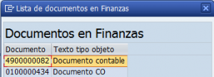 SAP MM, lista de documentos en finanzas