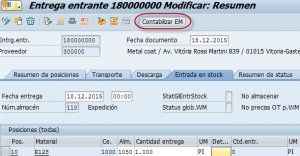 SAP MM, resumen de la entrega entrante