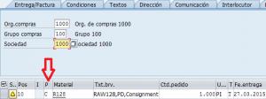 SAP MM, posición del pedido de consigna
