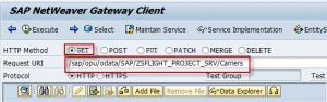 SAP Netweaver Gateway, operaciones  disponibles en cada servicio