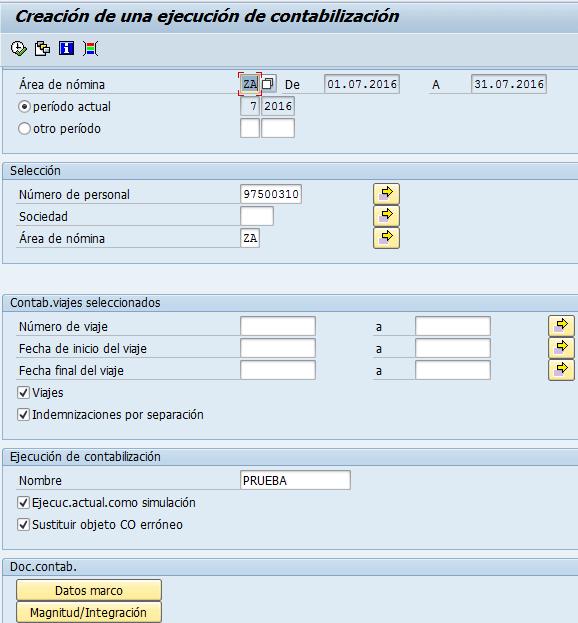 SAP HCM, lanzamiento de una ejecución de contabilización de hoja de gastos