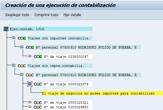 SAP HCM, resumen de la ejecución de contabilizar hoja de gastos
