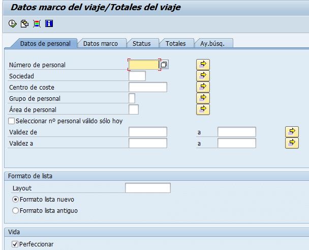 SAP HCM, pantalla de selección de los datos de gasto