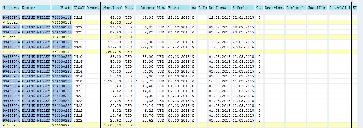 SAP HCM, detalles de clase de gasto