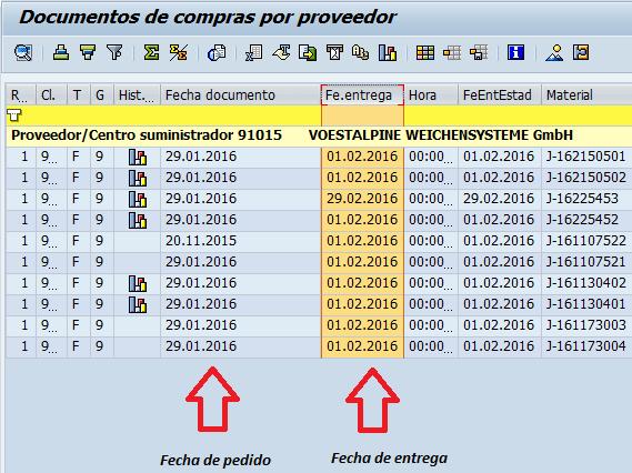 Documento de compras por proveedor, filtrado