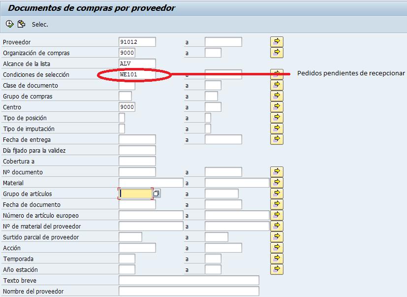 SAP MM, Pedido pendiente de recepción