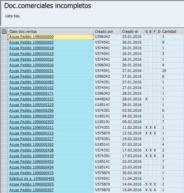 Listado total de documentos incompletos